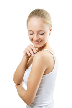 The girl touches the skin Stock Photo - 10890200