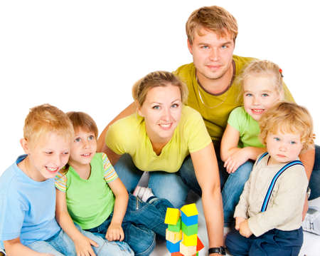 big five: Large family with four children on a white background Stock Photo