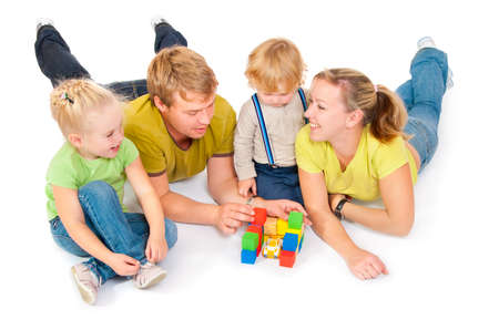 family with children on a white background Stock Photo - 10890199