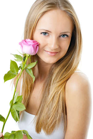 Portrait of young beautiful woman with a rose, isolated