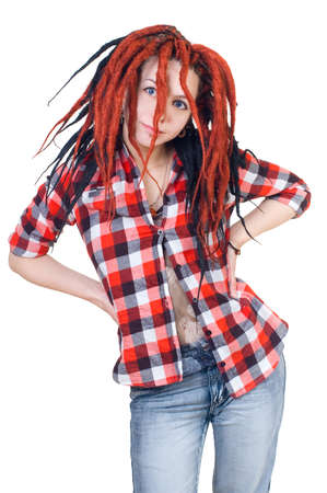 man's shirt: Girl with dreadlocks in a mans shirt Stock Photo