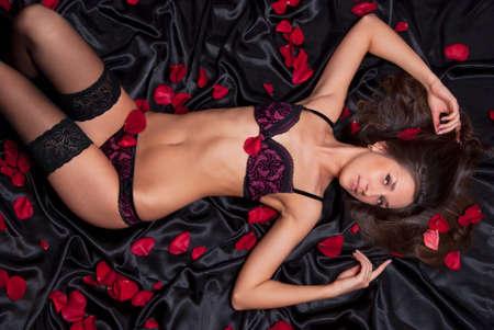 Beautiful girl in black underwear Stock Photo