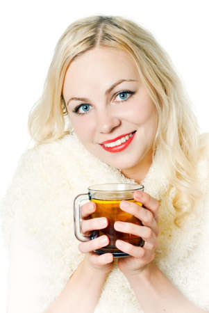 froze: The girl froze, heated with hot tea