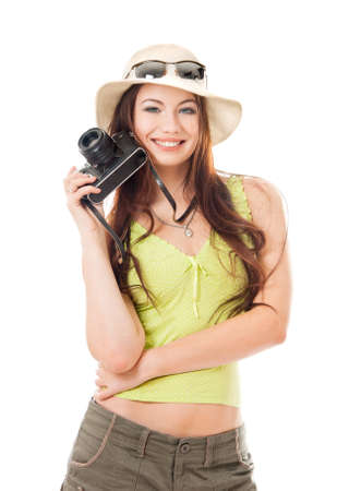 Woman traveler with a camera, white background