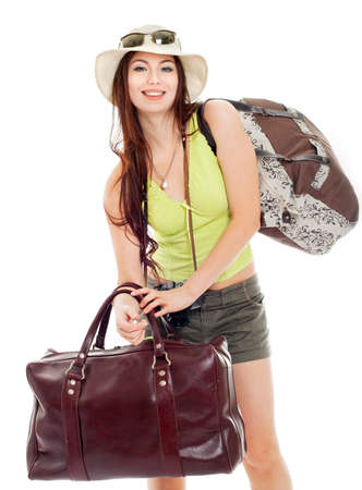 Dziewczyna wybiera się na podróż, białym tle Zdjęcie Seryjne