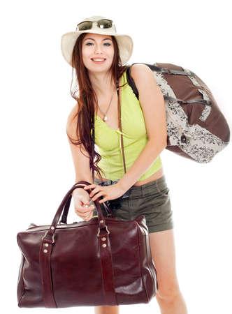 tourist vacation: ragazza di andare su uno sfondo viaggio, bianco