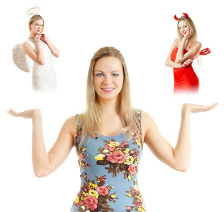 diavoli: La ragazza pensa, un angelo e un diavolo