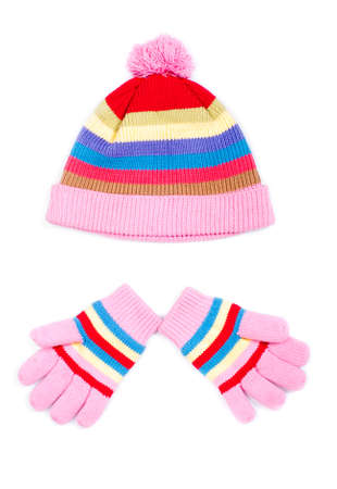 Hat and gloves on a white background