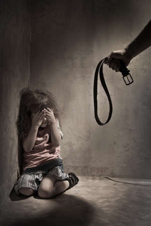 child crying: Child Abuse with abusive parent father