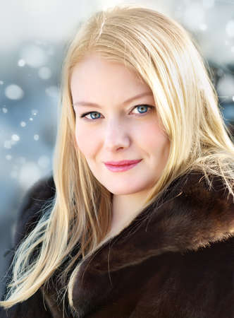 Portrait of a beautiful girl, winter photo
