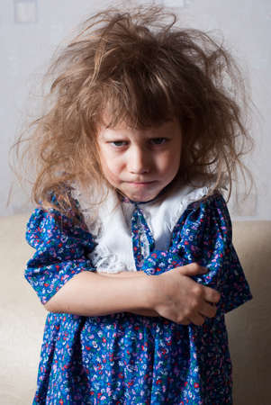 Little girl angry and resentful