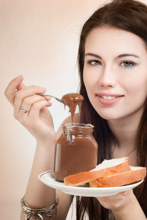 blouse sexy: Girl with a jar of chocolate spread