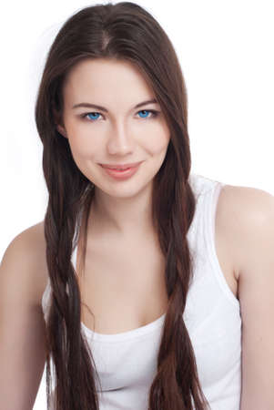 Portrait of a beautiful young girl with dark hair photo
