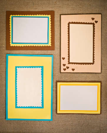 The four frames of colored paper photo