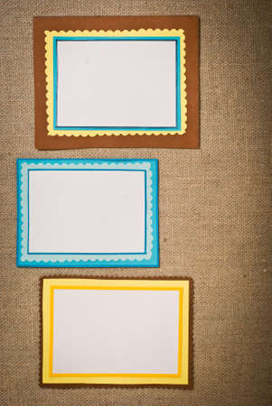 Three frames of colored paper photo