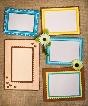 Five frames of colored paper Standard-Bild