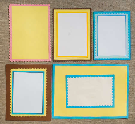 Five frames of colored paper photo