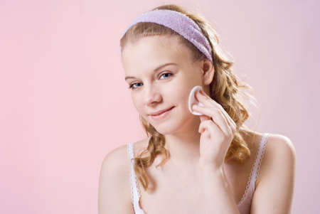 takes: Beautiful girl Teen of sixteen  takes care of the skin