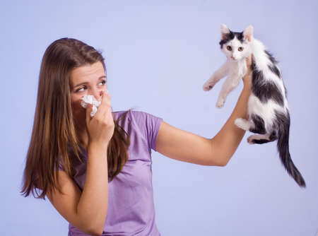 The girl is allergic to cat photo