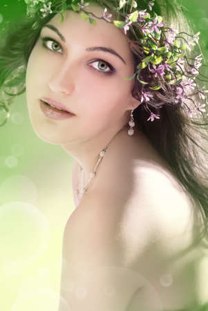 beautiful girl with flowers photo