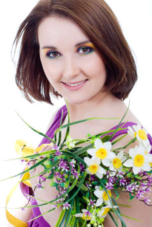 A girl with a bouquet of wildflowers Stock Photo - 13619290