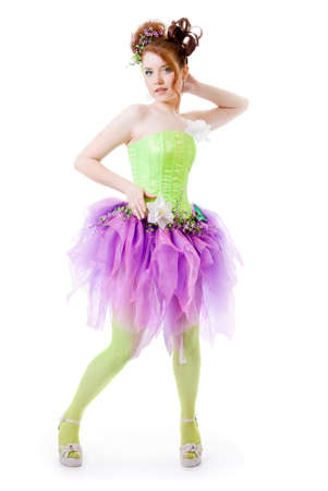 Girl in fairy costume, white background Stock Photo - 13619264