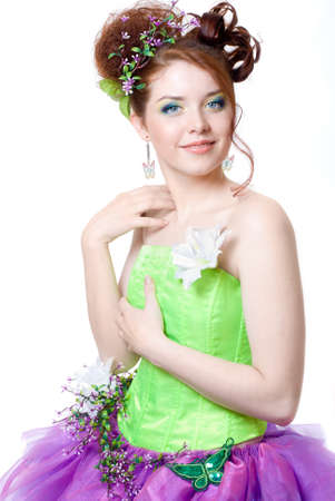 Girl in fairy costume, white background photo