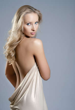 nude woman back: girl in the drapery, the back