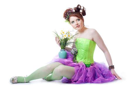 Girl in fairy costume, white background photo
