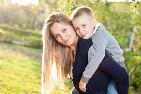 Mom and her son enjoyed the walk Standard-Bild