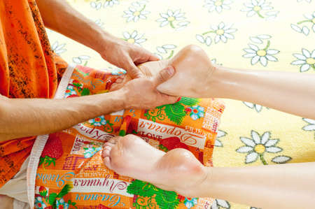 Leg massage with massage oil in the cabin  Stock Photo - 17730113