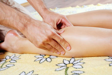 Leg massage with massage oil in the cabin  Stock Photo - 17730110