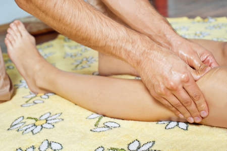 Leg massage with massage oil in the cabin Stock Photo - 15683821