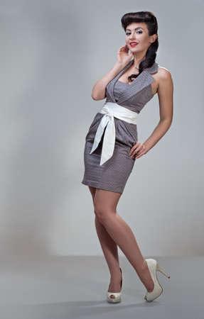 pin up girl: young beautiful caucasian woman, retro styling