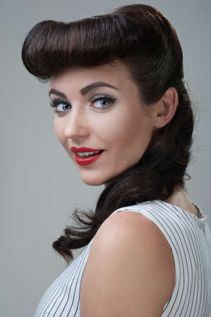 young beautiful caucasian woman, retro styling