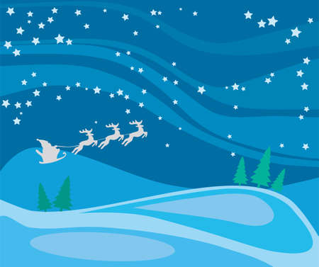 Santa Claus flying through the night sky Stock Vector - 16748691