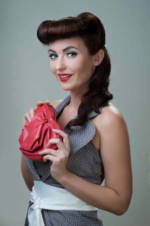 young beautiful caucasian woman, retro styling photo