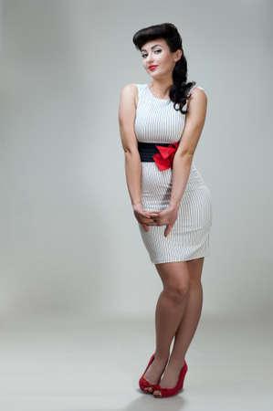 young beautiful caucasian woman, retro styling