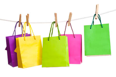 paper bags for clothes pins, white background photo