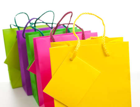 Paper bags on white background photo