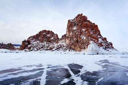Winter landscape on the lake Baikal photo