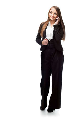 pantsuit: Businesswoman in a pantsuit on white background