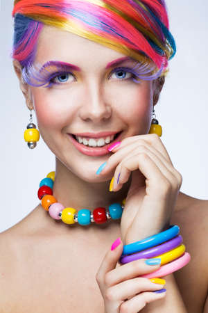 vibrant colors fun: Beautiful woman with bright makeup