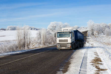 truck on a winter road