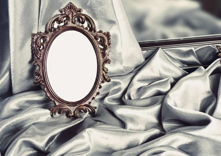 Beautiful vintage frame is a silver silk Stock Photo