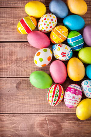 easter eggs: Easter eggs on wooden background