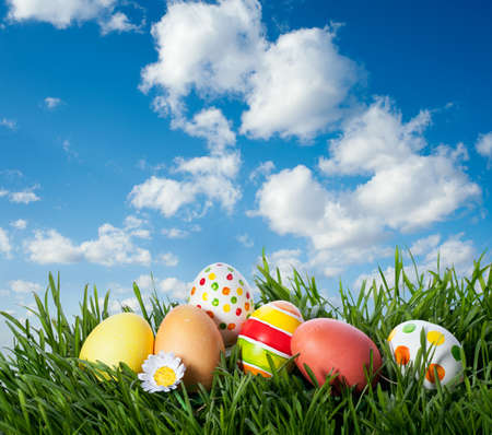 decorated easter eggs in the grass Standard-Bild
