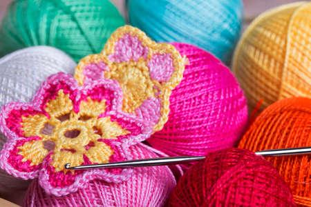 Crochet, soft focus , Crocheted flowers  Foto de archivo