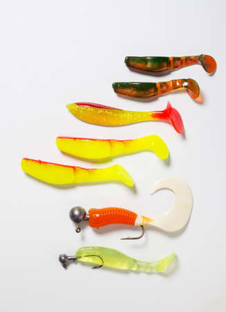 jigging: Fishing bait and hook for jigging on a white background Stock Photo