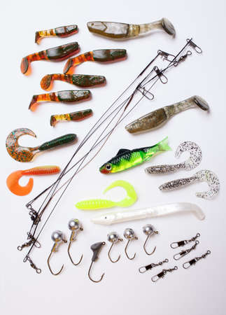 jig: Jig bait for fishing on white background Stock Photo